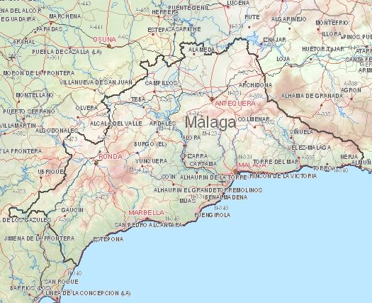 Map Of Malaga Area Spain.Fly And Drive To Costa Del Sol