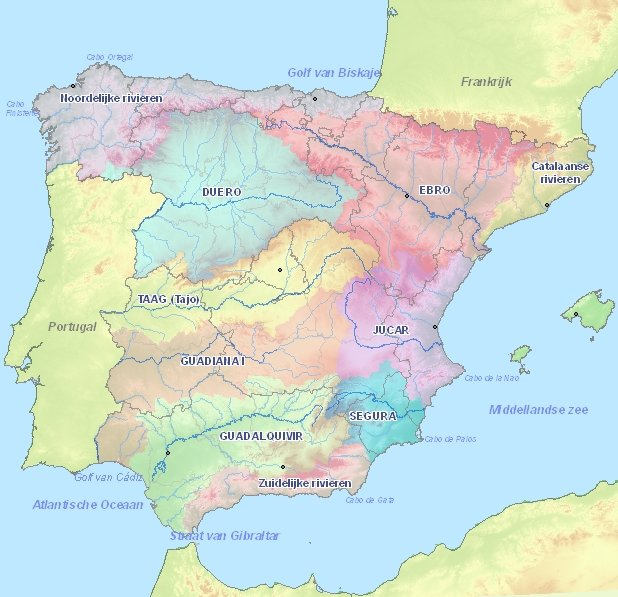 Map Of Spain Rivers.Rivers In Spain